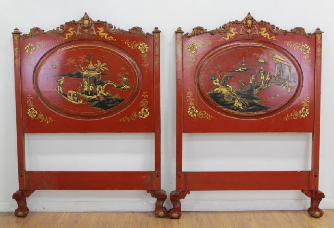 Pair Red Lacquered Carved Chinoiserie Single Beds - 3