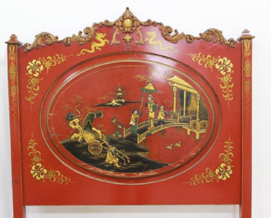 Pair Red Lacquered Carved Chinoiserie Single Beds - 4