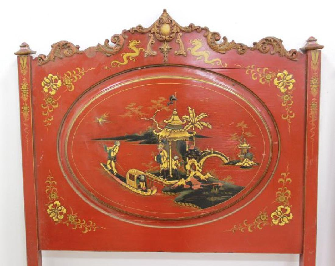 Pair Red Lacquered Carved Chinoiserie Single Beds - 5