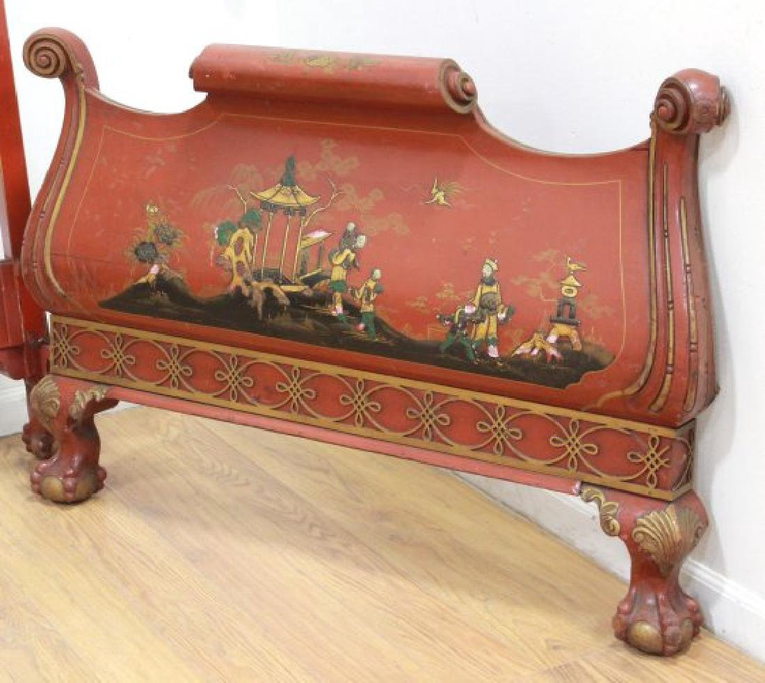 Pair Red Lacquered Carved Chinoiserie Single Beds - 6