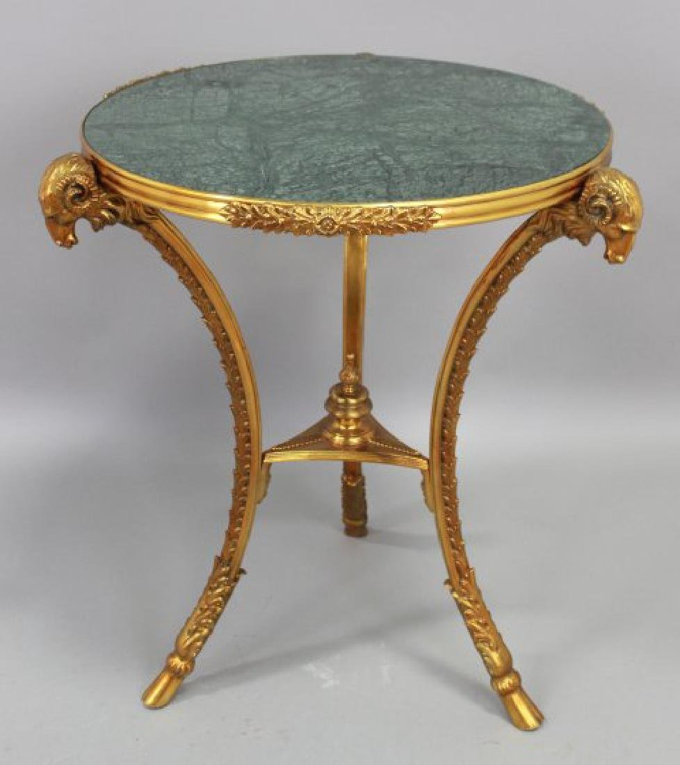 French Marble Top Bronze Gueridon