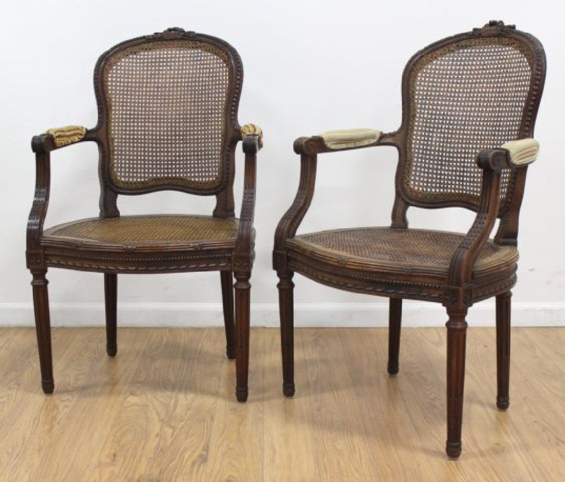 :Pair Louis XVI Style Carved Walnut Fauteuils