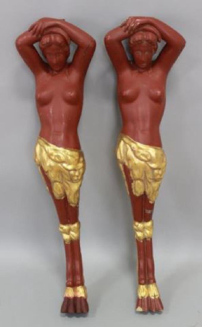 :Pair Painted Wood Figural Columns