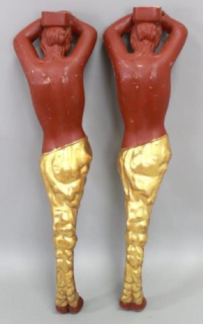 :Pair Painted Wood Figural Columns - 5