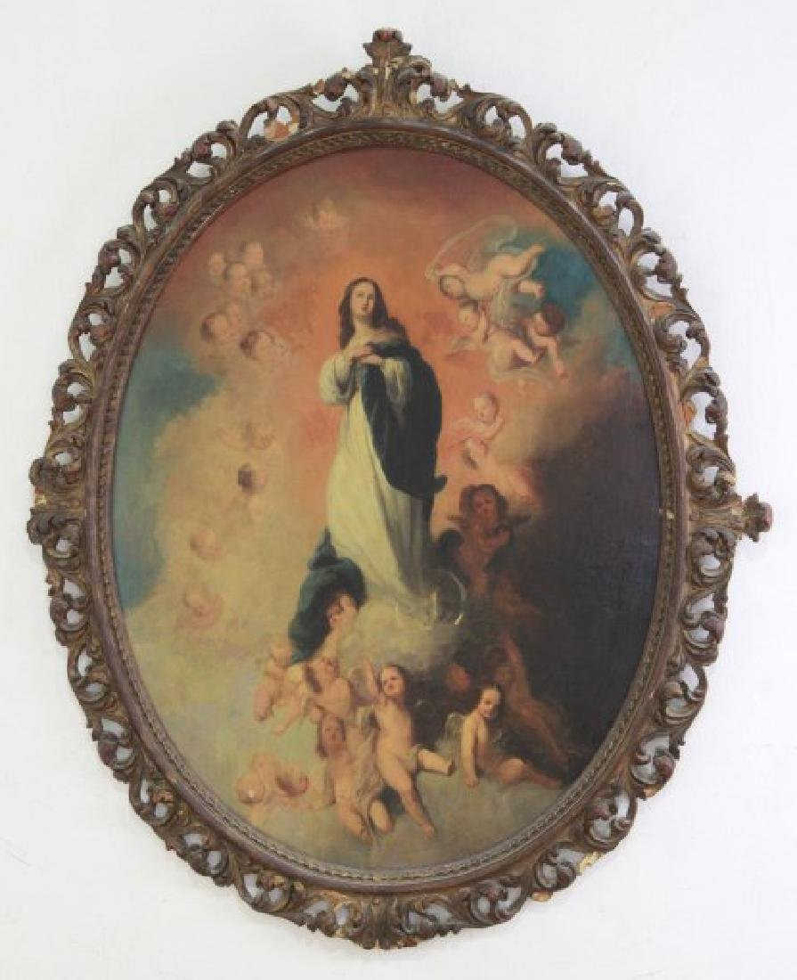 Oval Religious Painting of St. Mary