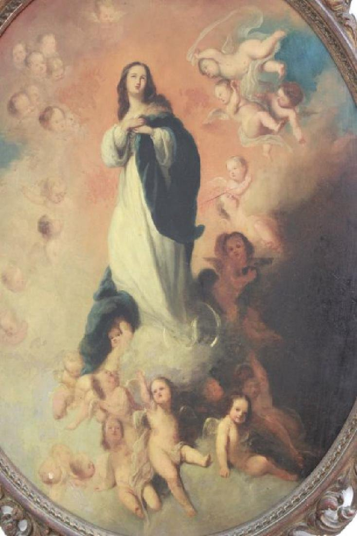 Oval Religious Painting of St. Mary - 2