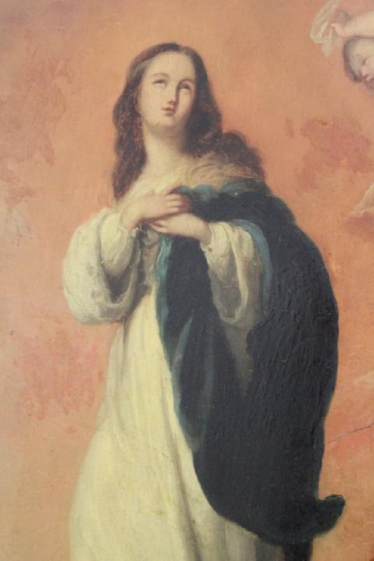 Oval Religious Painting of St. Mary - 3