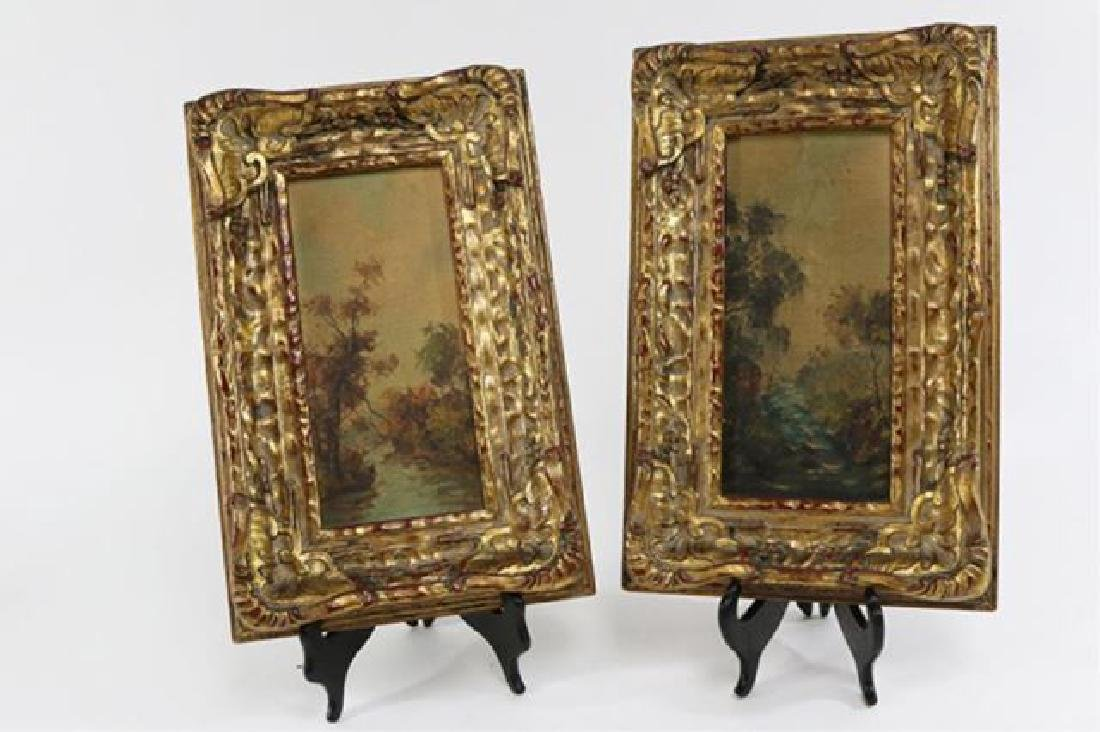 :Pair Gilt Ornate Frames w/ Oil on Board Landscape