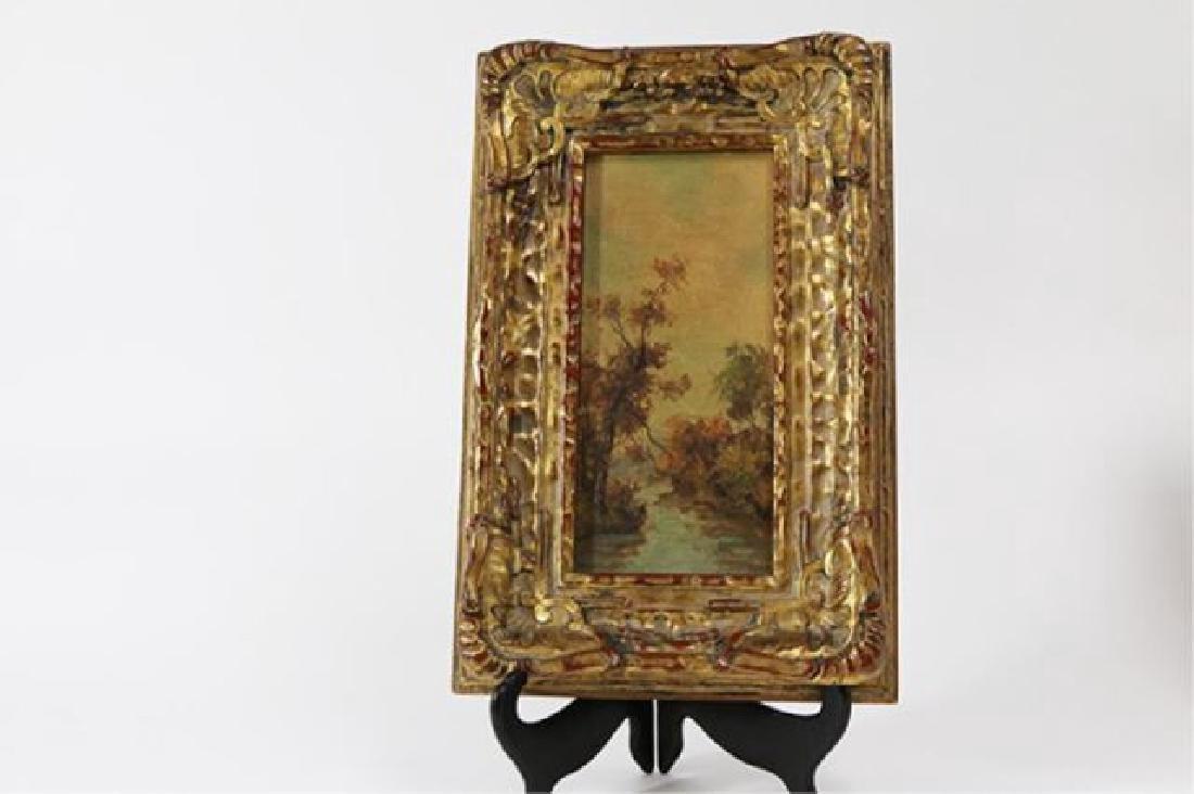 :Pair Gilt Ornate Frames w/ Oil on Board Landscape - 2
