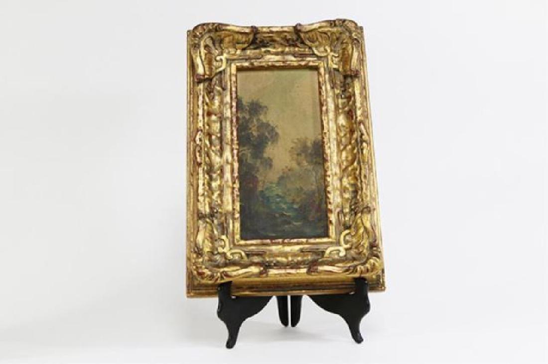 :Pair Gilt Ornate Frames w/ Oil on Board Landscape - 3