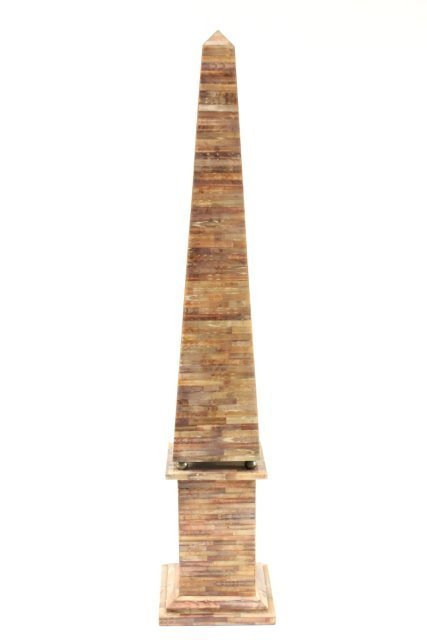 Pair Faux Tesselated Shell & Metal Obelisk - 2