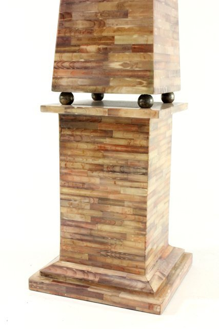 Pair Faux Tesselated Shell & Metal Obelisk - 4
