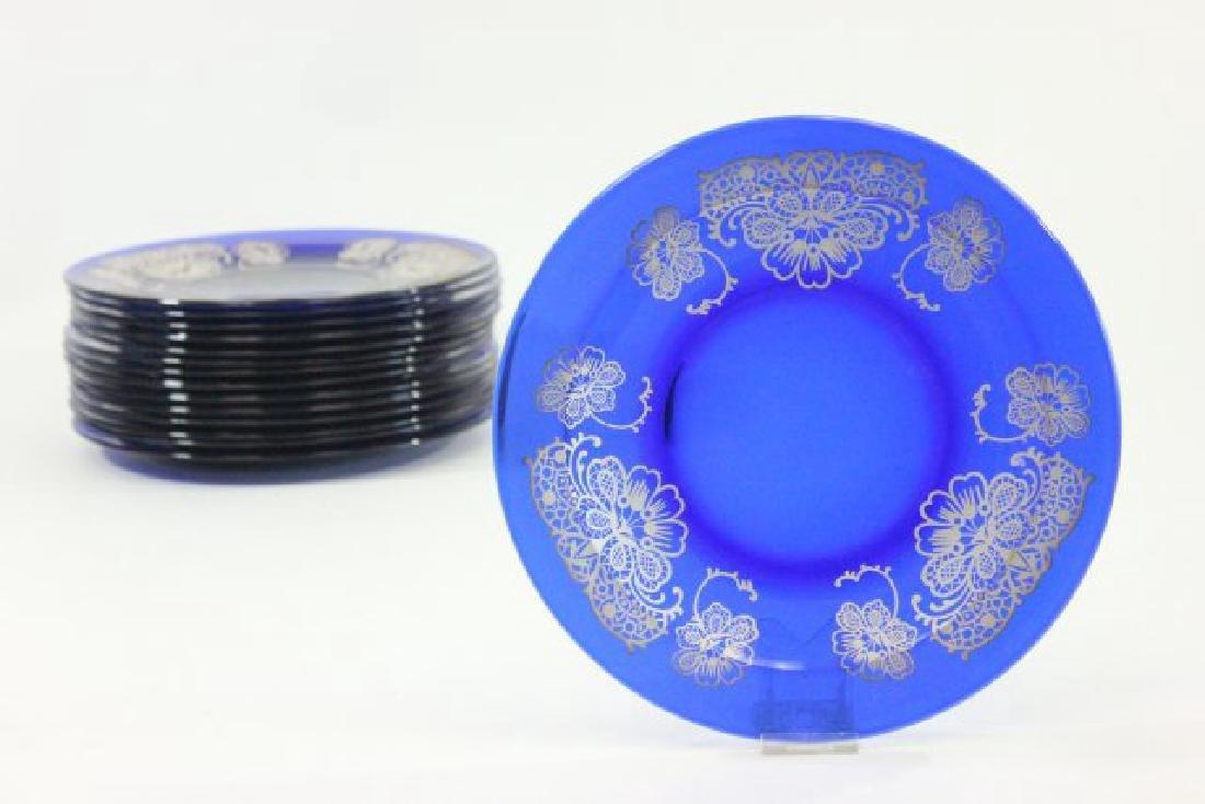 Set 15 Cobalt Blue Glass Plates