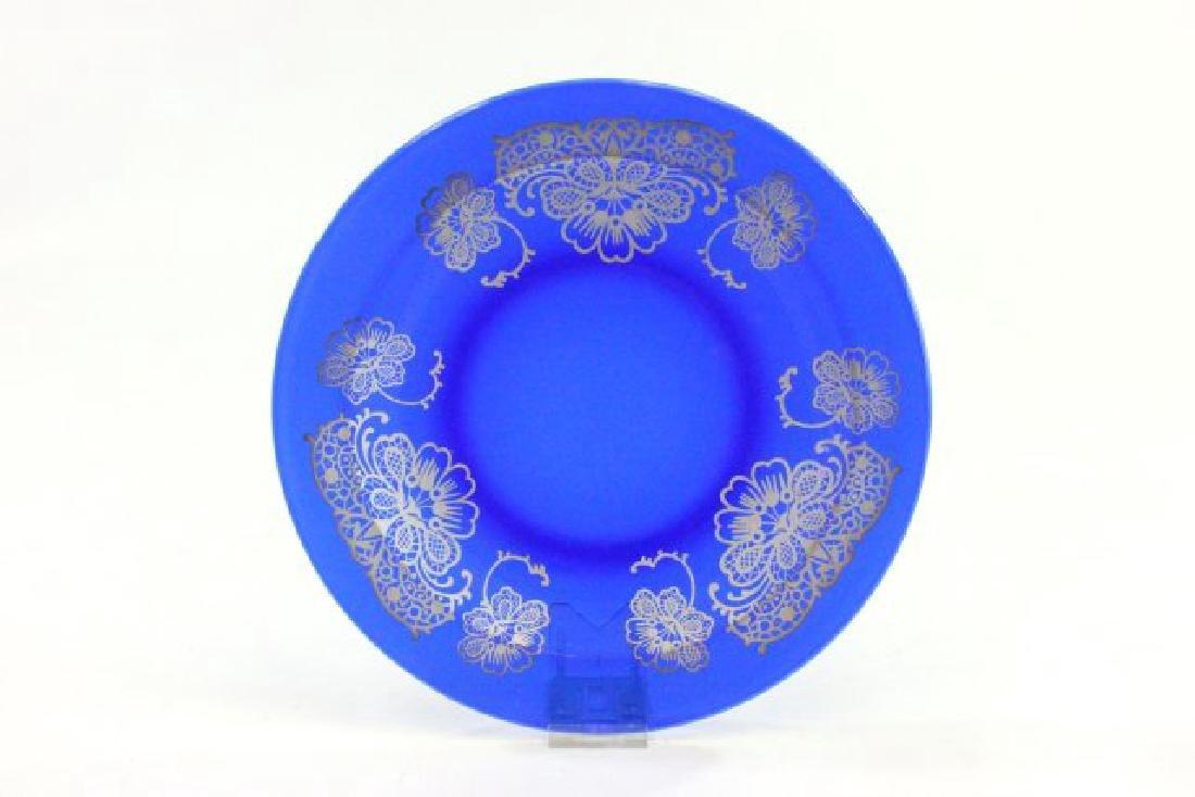 Set 15 Cobalt Blue Glass Plates - 2