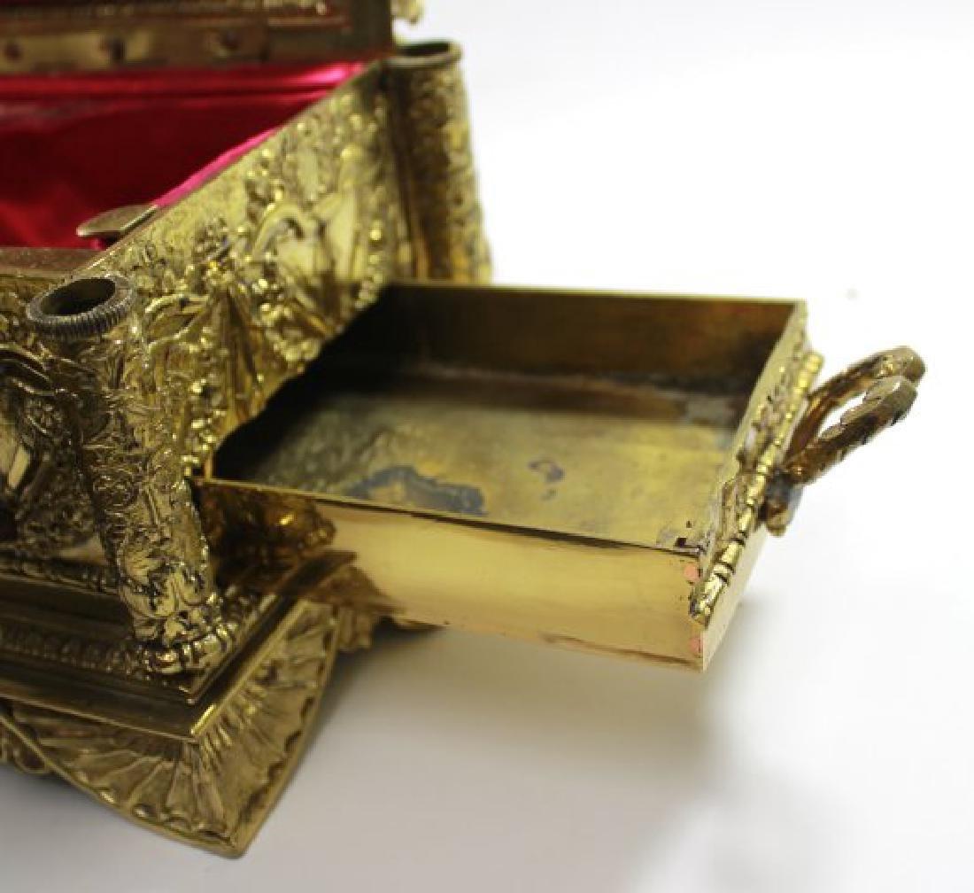 Bronze Figural Inkwell Desk Set - 7