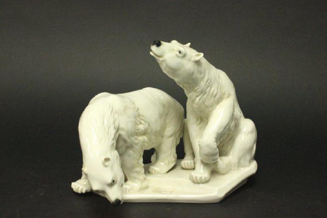 :Karl Ens Porcelain Grouping, 2 Polar Bears