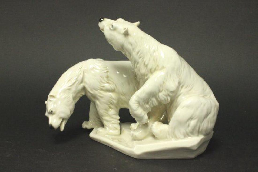 :Karl Ens Porcelain Grouping, 2 Polar Bears - 3