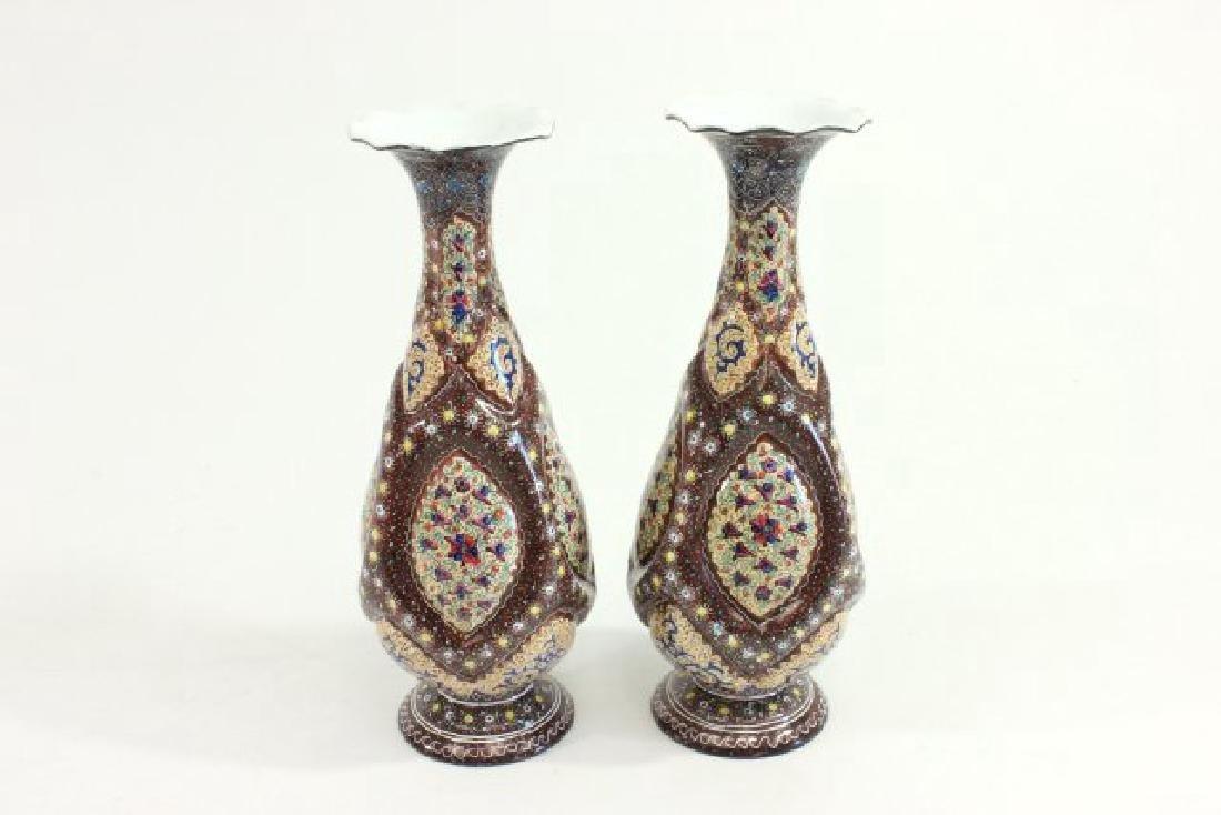 Pair Persian Enamel Vases - 5