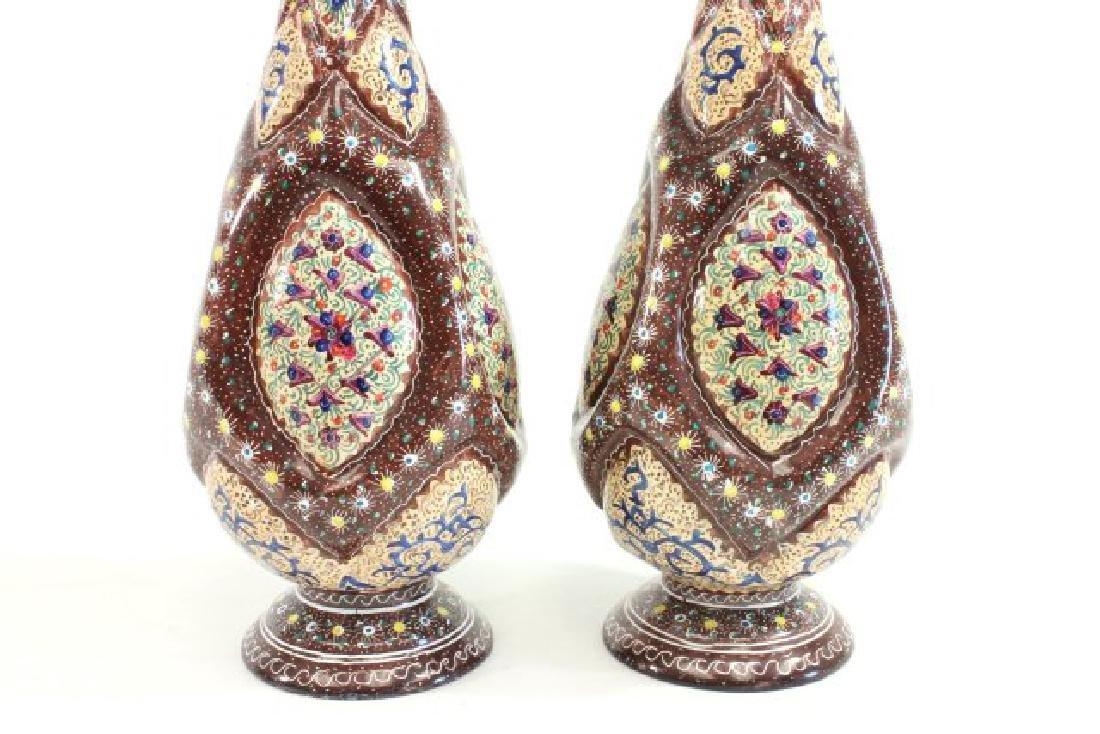Pair Persian Enamel Vases - 6