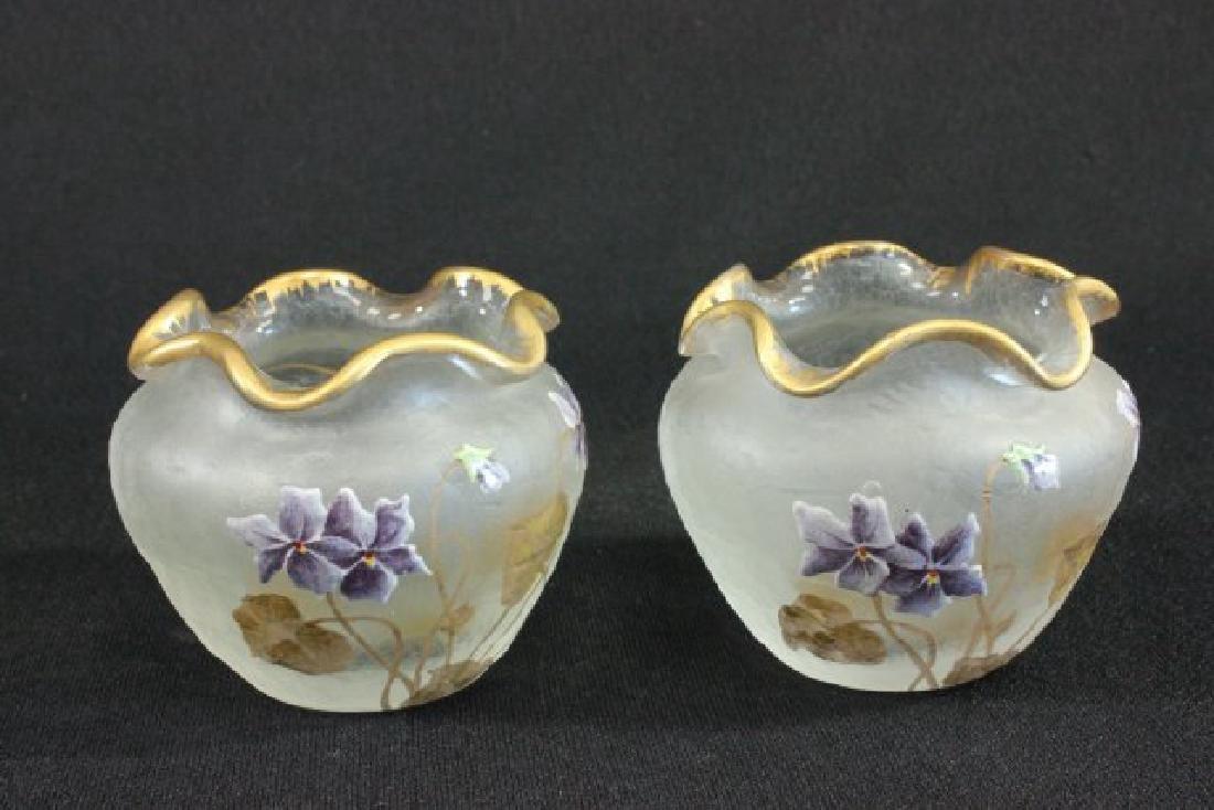 Pair Montjoie Style Enameled Glass Vases