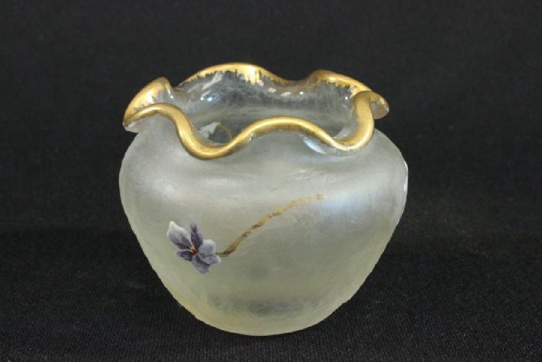 Pair Montjoie Style Enameled Glass Vases - 3