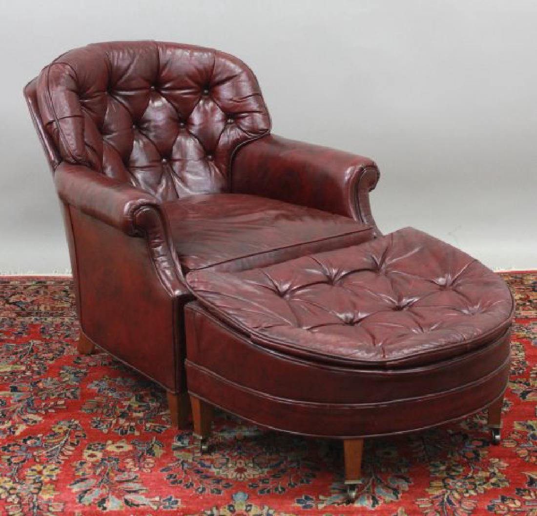 Burgundy Leather Upholstered Club Chair & Ottoman
