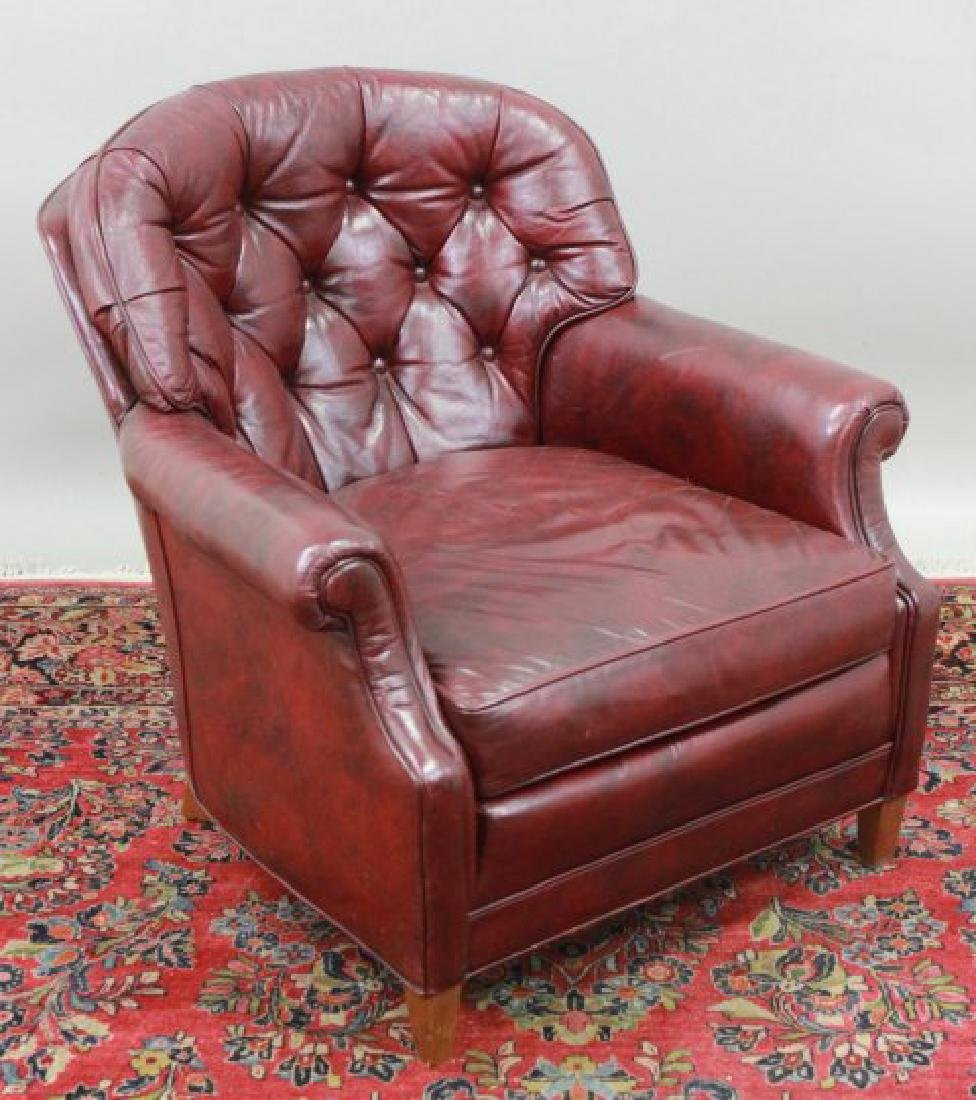 Burgundy Leather Upholstered Club Chair & Ottoman - 2