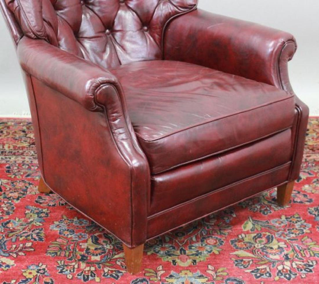 Burgundy Leather Upholstered Club Chair & Ottoman - 3