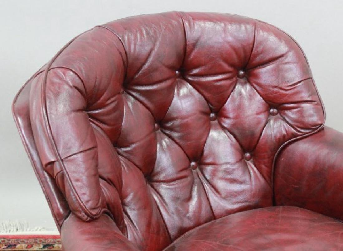 Burgundy Leather Upholstered Club Chair & Ottoman - 4