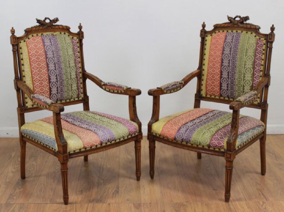 Pair French Walnut Louis XVI Style Armchairs