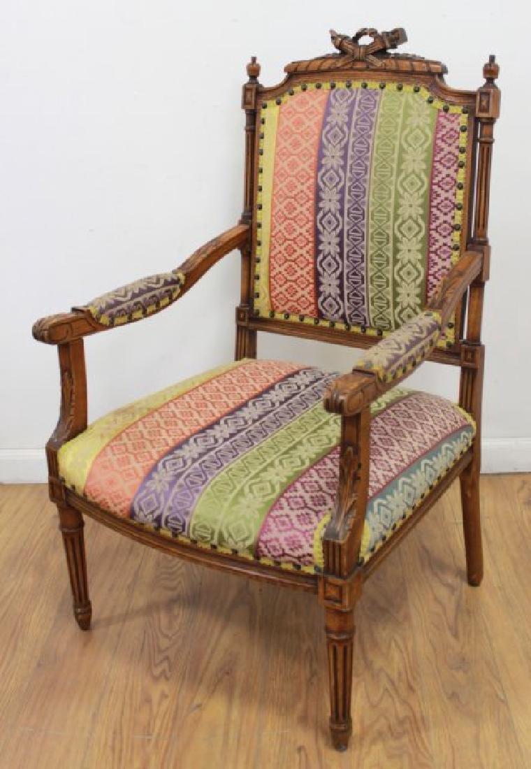 Pair French Walnut Louis XVI Style Armchairs - 2
