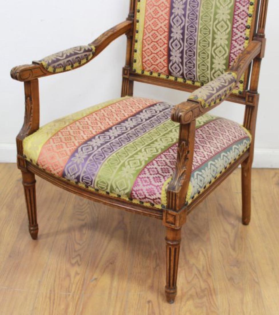 Pair French Walnut Louis XVI Style Armchairs - 3