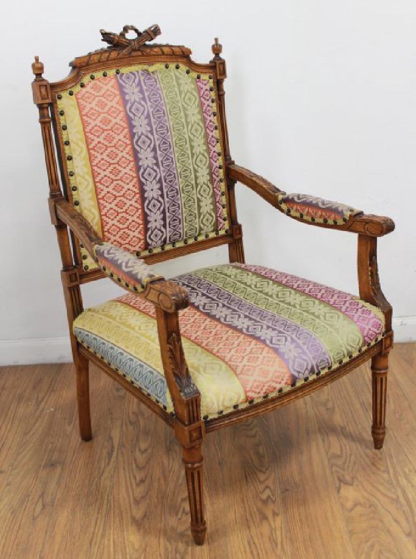 Pair French Walnut Louis XVI Style Armchairs - 4
