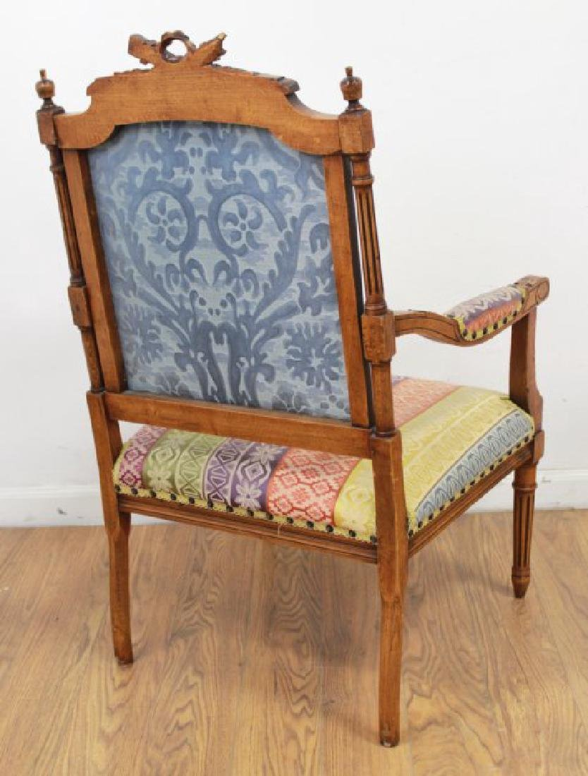 Pair French Walnut Louis XVI Style Armchairs - 6