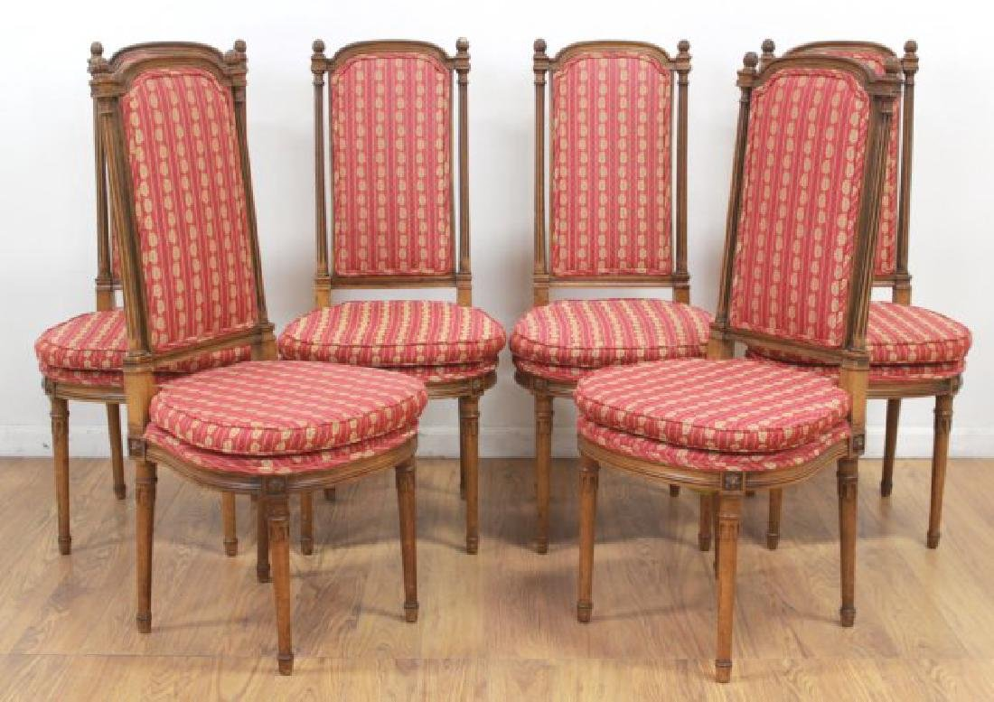 Set 6 Walnut Louis XVI Style Dining Room Chairs