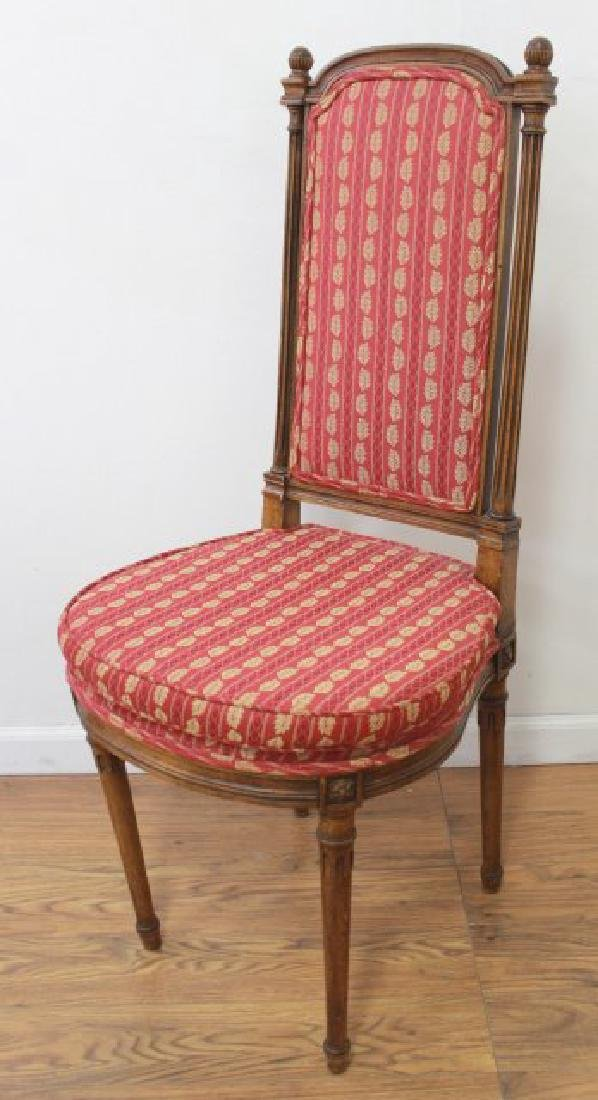Set 6 Walnut Louis XVI Style Dining Room Chairs - 2