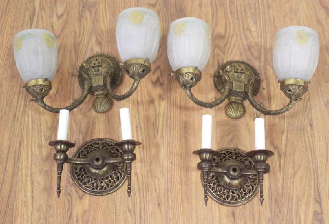 2 Pairs Art Deco Brass 2-Light Sconces