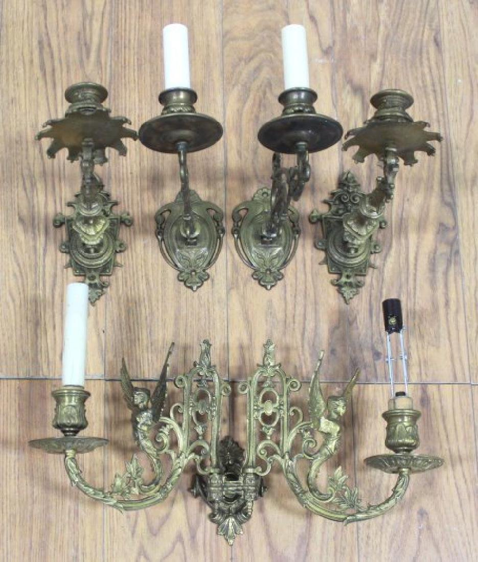 2 Pairs Brass Hinged Sconces & 2-Arm Sconce