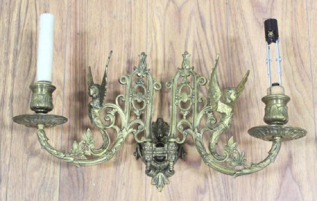 2 Pairs Brass Hinged Sconces & 2-Arm Sconce - 2