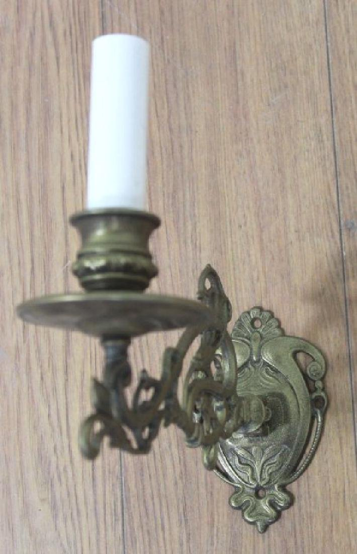 2 Pairs Brass Hinged Sconces & 2-Arm Sconce - 3