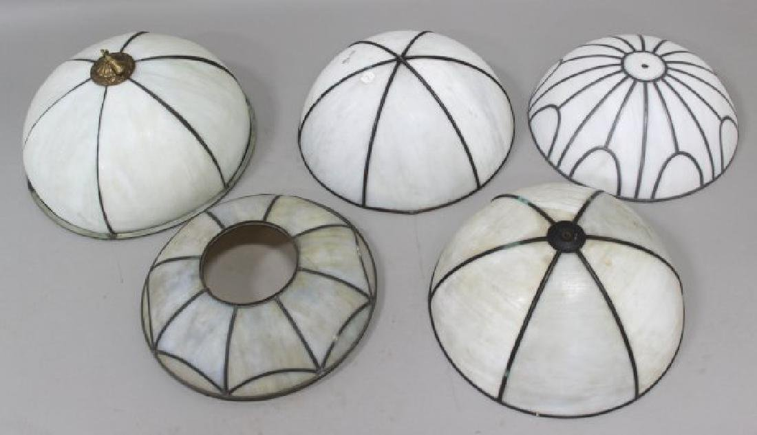 4 Leaded White Glass Shades
