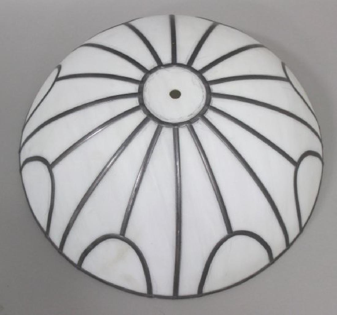 4 Leaded White Glass Shades - 3