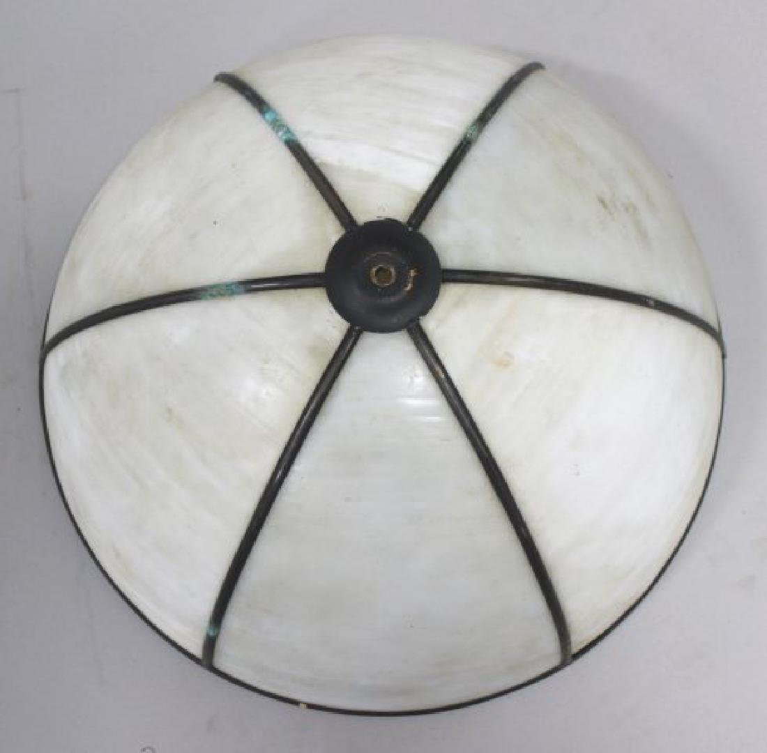 4 Leaded White Glass Shades - 4
