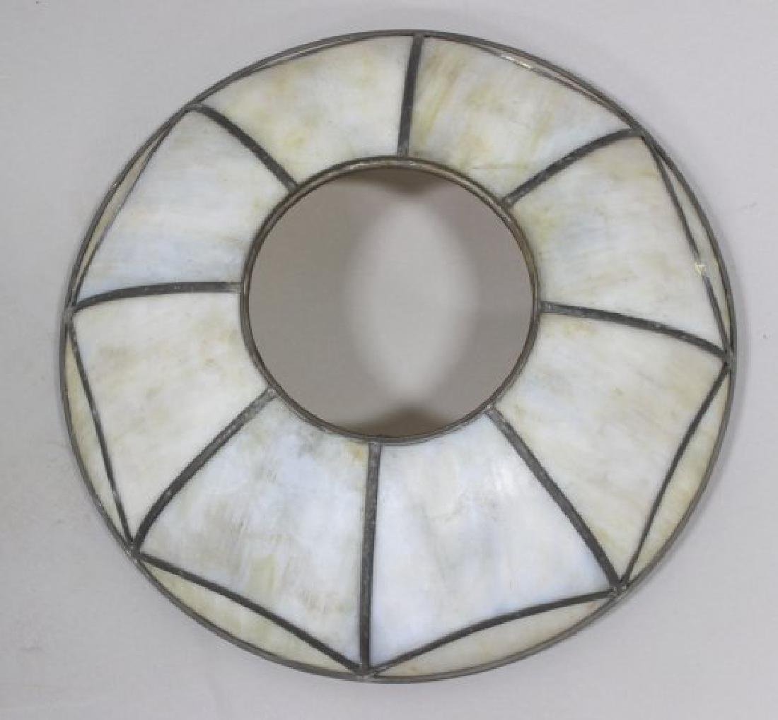 4 Leaded White Glass Shades - 6