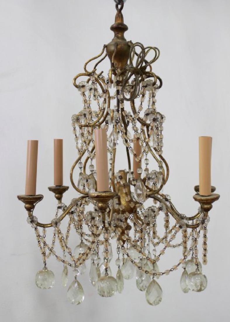 Italian Rococo Style Gilt Metal 6-Light Chandelier