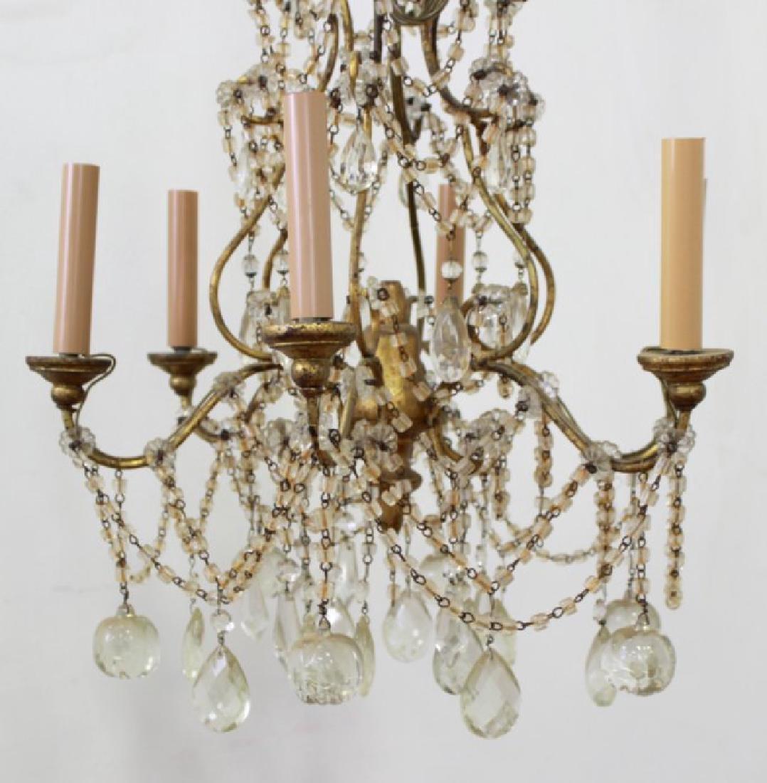 Italian Rococo Style Gilt Metal 6-Light Chandelier - 2