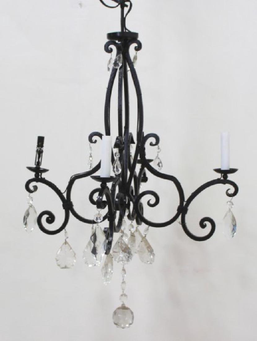Rococo Style Wrought Iron 4-Light Chandelier