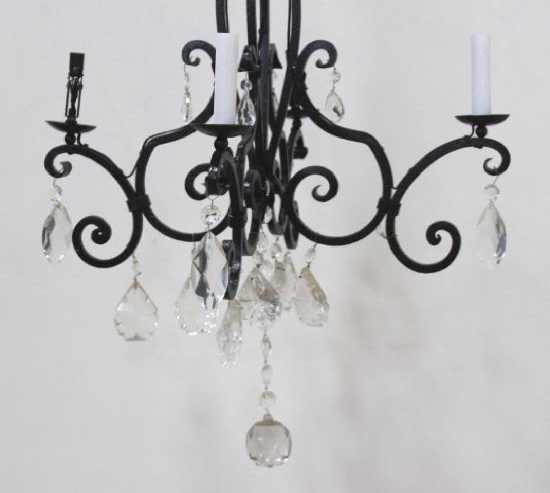 Rococo Style Wrought Iron 4-Light Chandelier - 2