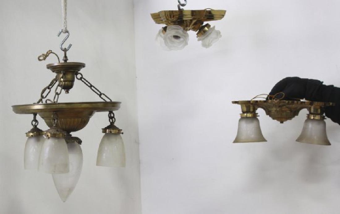 3 Art Deco Style Brass Ceiling Fixtures