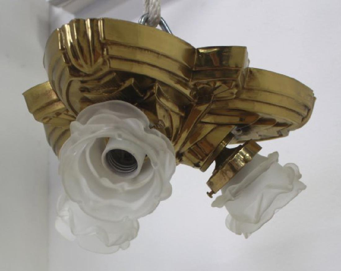 3 Art Deco Style Brass Ceiling Fixtures - 4
